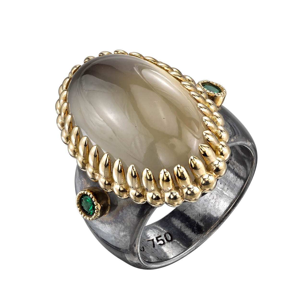 16.57 Ct Moonstone set in 18 Karat Yellow Gold with an Organic Silver band. Each side of the band is accented with vivid green Tsavorite (0.25 Ct Total).