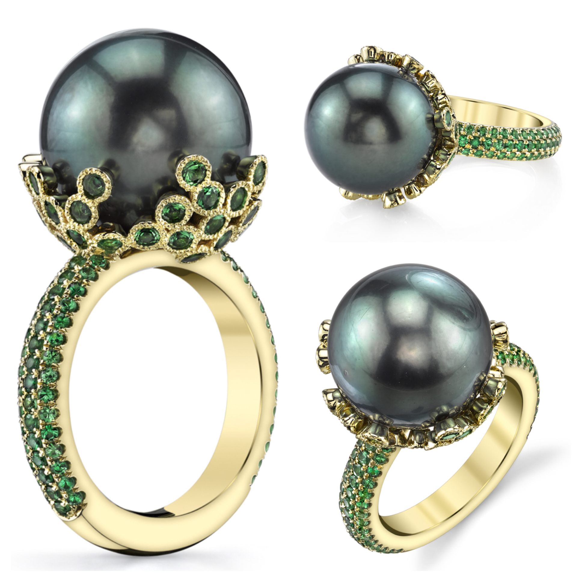 15mm Tahitian Pearl set in 18 Karat Yellow Gold and accented with Green Tsavorites