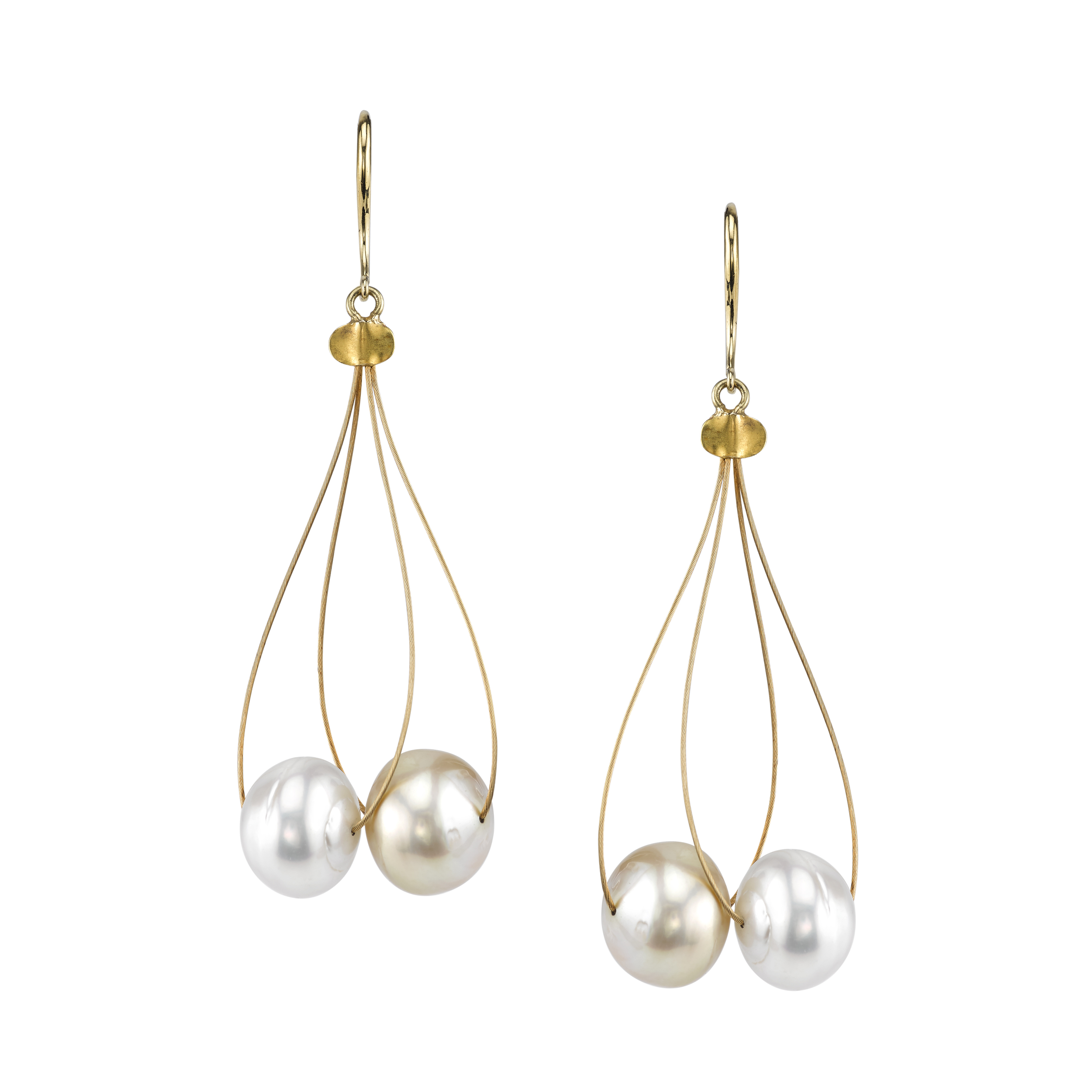 South Sea Pearl and 18 Karat Yellow Gold Dangle Earrings