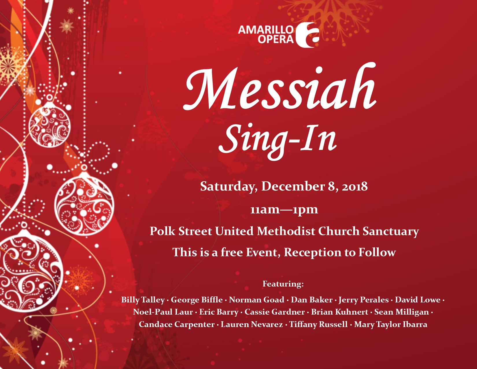 Messiah Sing-In - December 8, 2018 @ 11amPolk Street United Methodist Church, SanctuaryThis is a free event, no tickets requiredA reception to follow