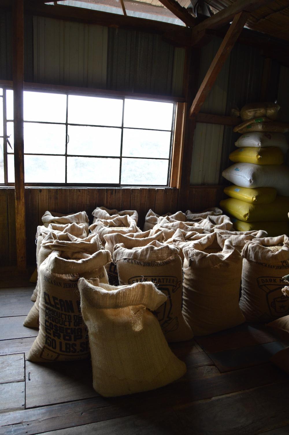 Bags of coffee at Finca San Jerónimo Miramar
