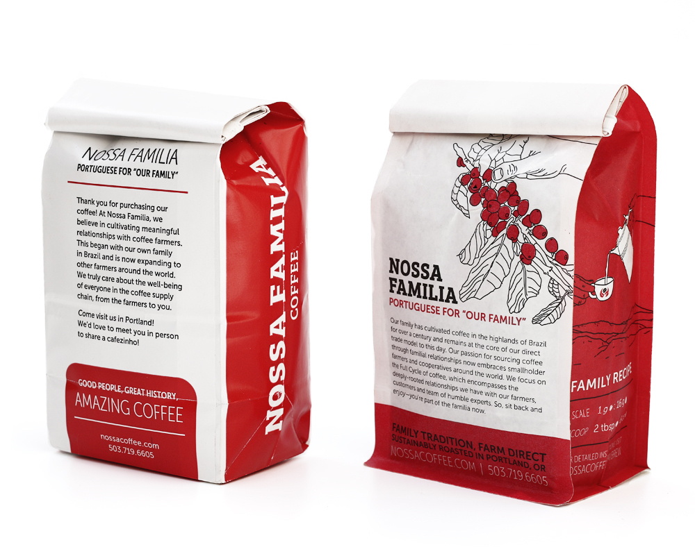 Our old (left; paper) & new (right; Biotre) 12oz coffee bags side-by-side from the back.