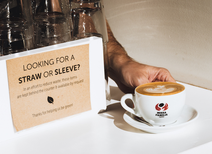 Looking for a straw or paper sleeve for your coffee cup? These items are now kept behind the counter to reduce waste at all Nossa Familia Coffee cafés.