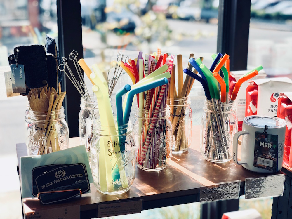A wide array of reusable straws are available for use and purchase at Nossa Familia Coffee's new Zero Waste café, including silicon, bambu, steel, and BPA-free plastic.