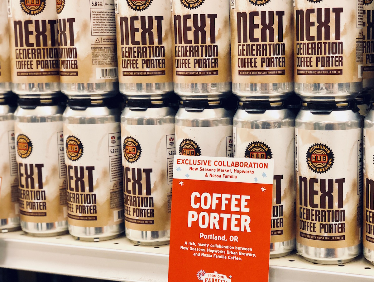 Next Generation Coffee Porter from Hopworks Urban Brewery, brewed with Nossa Familia Coffee's direct-trade Guatemalan coffee. Supporting the future of coffee farming. Available exclusively at New Seasons Market stores.