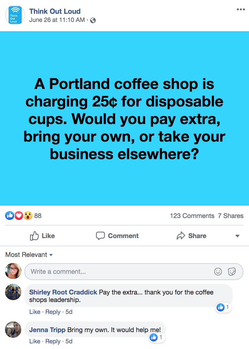 Screenshot of Facebook comments thread on OPB's Think Out Loud page regarding Nossa Familia's new 25-cent to-go cup upcharge.