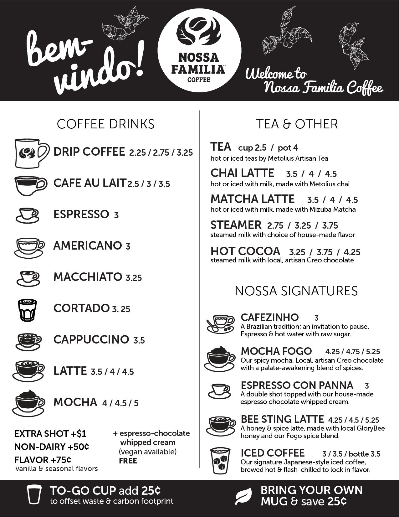 Nossa Familia Coffee - Seven Corners Café Coffee & Other Drinks Menu