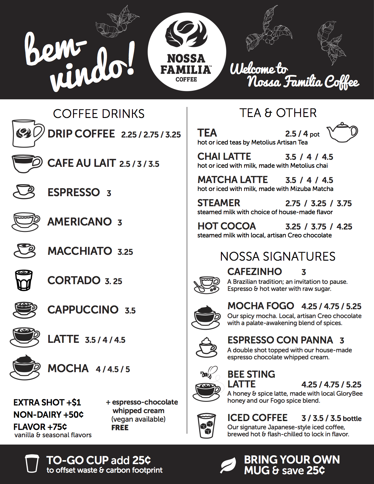 Nossa Familia café menu for Portland shops. Download PDF.