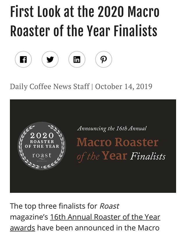 We are so proud to announce that we have been selected as a finalist for the 2020 Roaster of the Year in the macro roaster category. 15 years ago Augusto founded Nossa Familia with the simple idea of bringing his family's coffee from Brazil to Portland to share with friends. Today we have come so far, and mean so much to many people—our farmers, partners, staff, and customers. Thank you for being on this journey with us! Congratulations to the other finalists @coffeebydesign & @deansbeanscoffee. Learn more about the competition and finalists via @dailycoffeenews & @roastmagazine at https://dailycoffeenews.com/2019/10/14/first-look-at-the-2020-macro-roaster-of-the-year-finalists/ (link in bio). You can also read the full Q&A from our application at www.nossacoffee.com/blog. Thank you 🙏