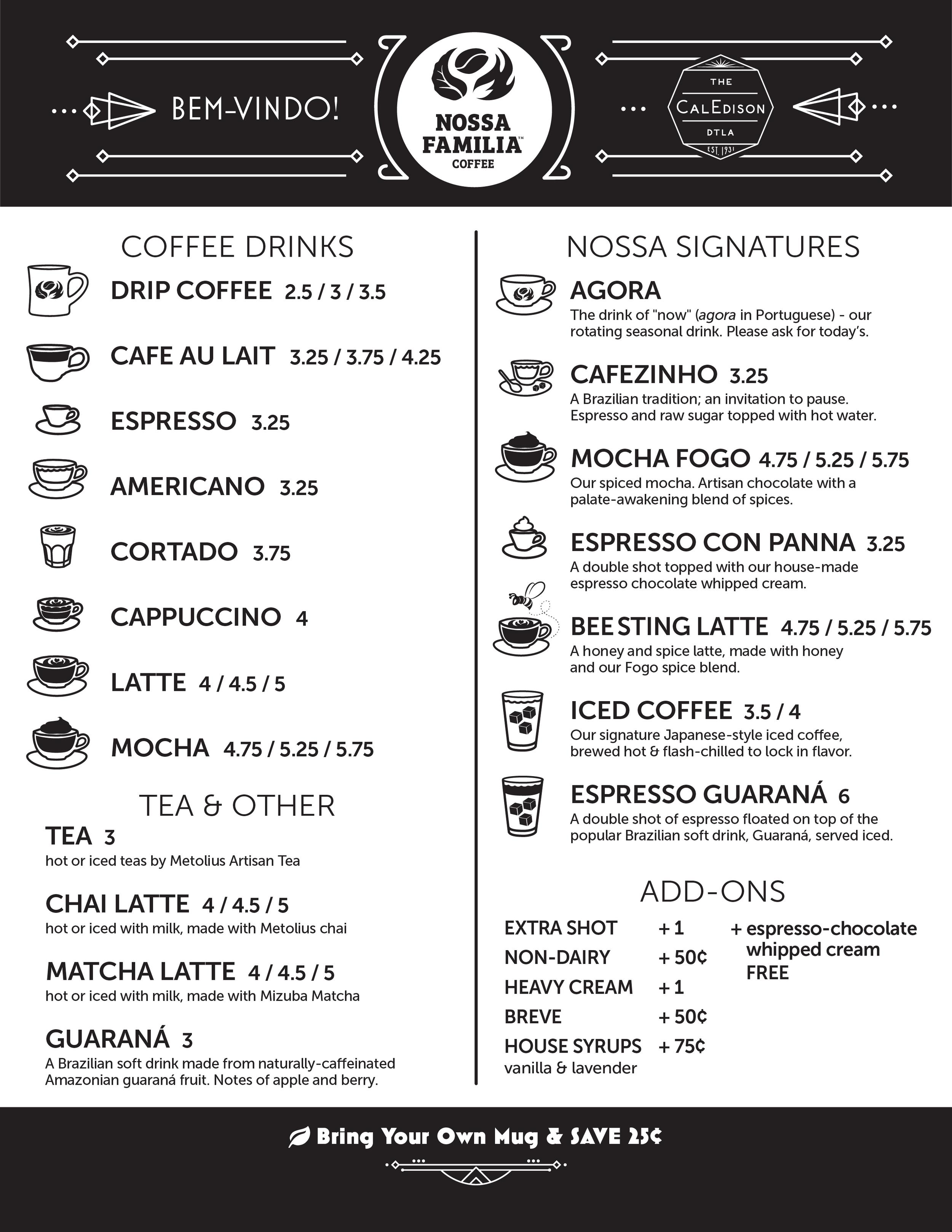 Coffee, tea & signature drink menu for Nossa Familia Coffee at The CalEdison DTLA