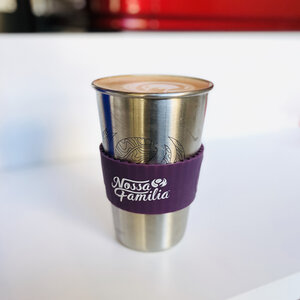 Customers who would like an espresso drink in their personal mug will have their drink made in a reusable stainless steel pint cup with sleeve, which can then be poured into their personal mug.