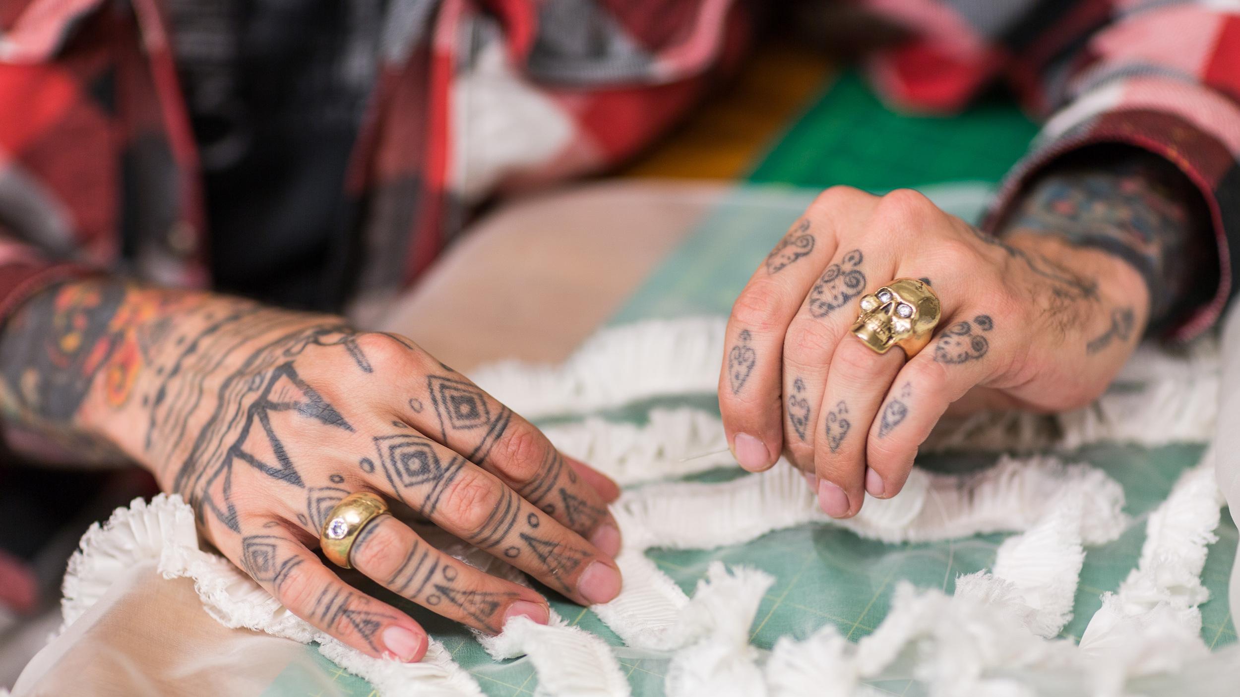 Artist Mark Mitchell's hands at work, client: City Arts Magazine