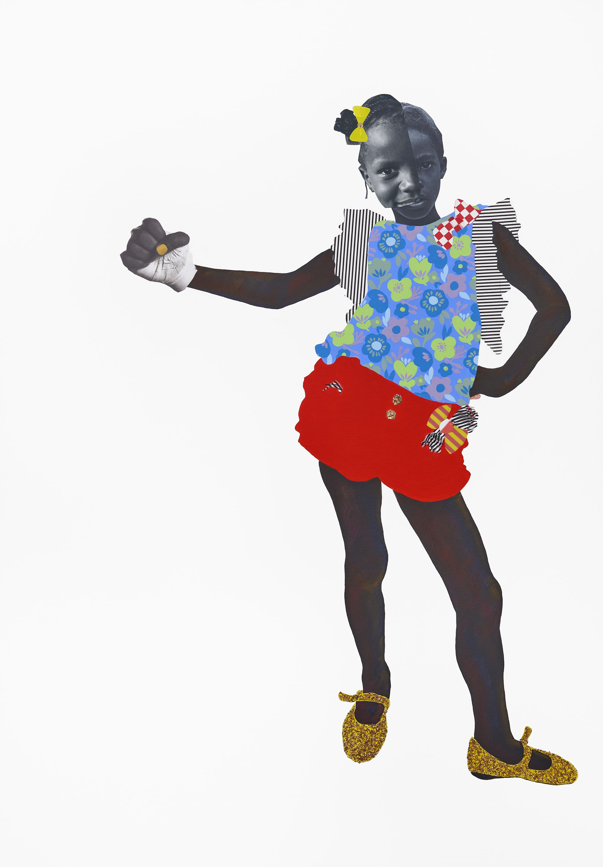 "Deborah Roberts first solo in Europe - BY Katy Cowan CREATIVE BOOM May 16 2019""Entitled 'If They Come', Roberts uses Baldwin's words to highlight the cross-generational struggle against racism and the socio-political parallels between 1970 and 2019. Continuing this call for solidarity, Roberts' use of collage speaks to the challenges encountered by young black children as they strive to build their identity, particularly as they respond to preconceived social constructs perpetuated by the black community, the white gaze and visual culture at large.""[Image caption] ""Hip bone"" 2019 (Mixed media collage on canvas, 65 x 45 inches)"
