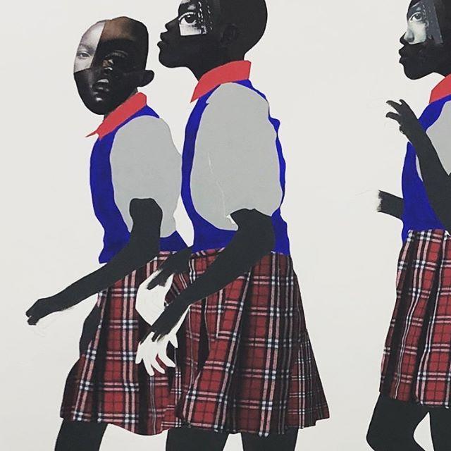 Girls in motion #wip #blackgirlsrock #blackexcellence #myshot #collage #drawing #painting #mixedmedia #schoolgirls #summertime #art #contemporaryart #paper #bluetape #cutandpaste #studiodays #austin #iseeyou #beforethestorm #darkskin #mixedmediacollage #itsajourney