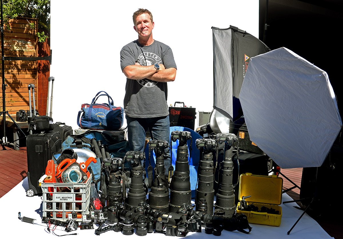 A recent image of me with some of my gear at home.  For a bit of fun, there's a video of this shot below.