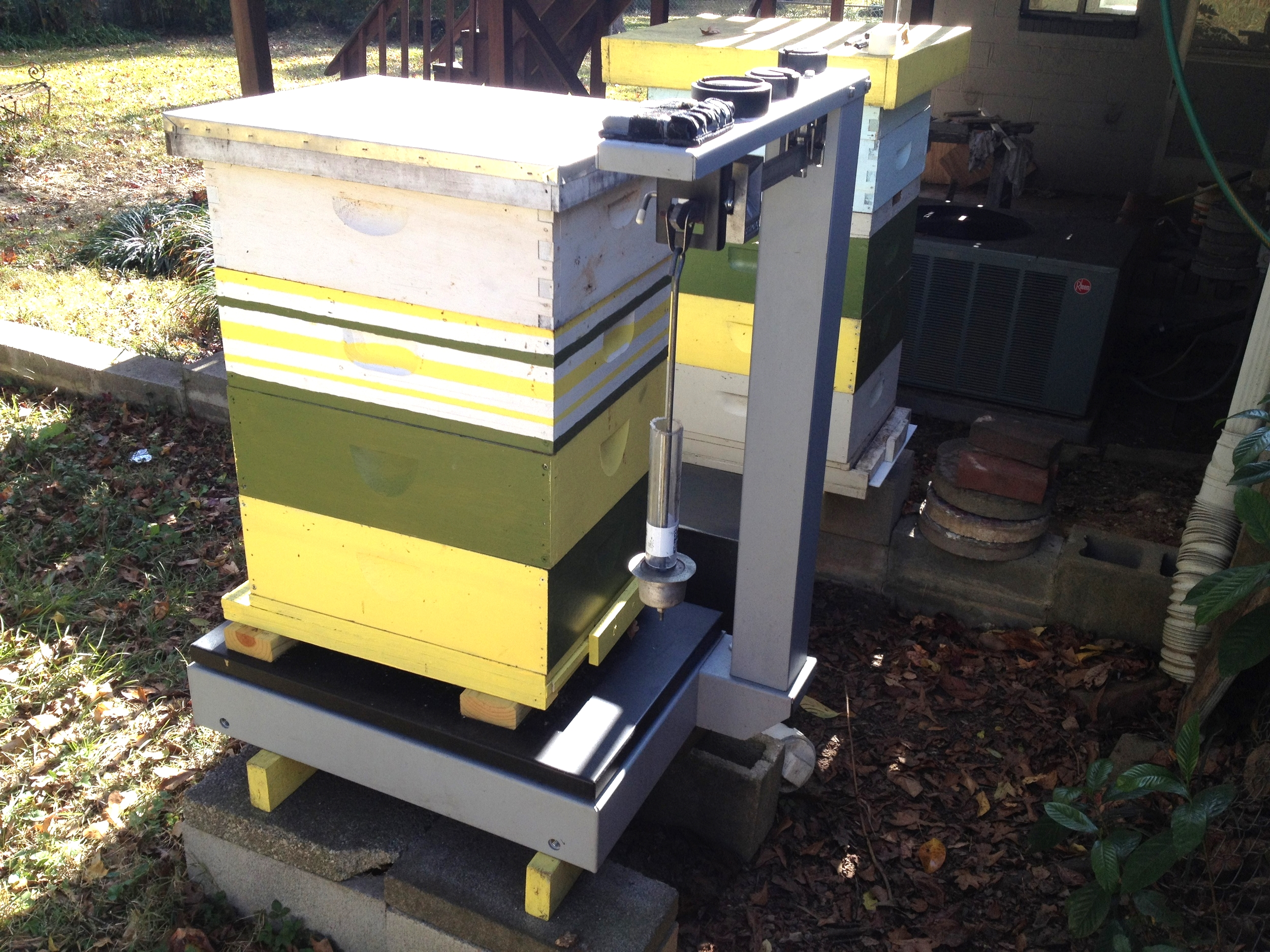 Simple hive scale setup on backyard langstroth hive