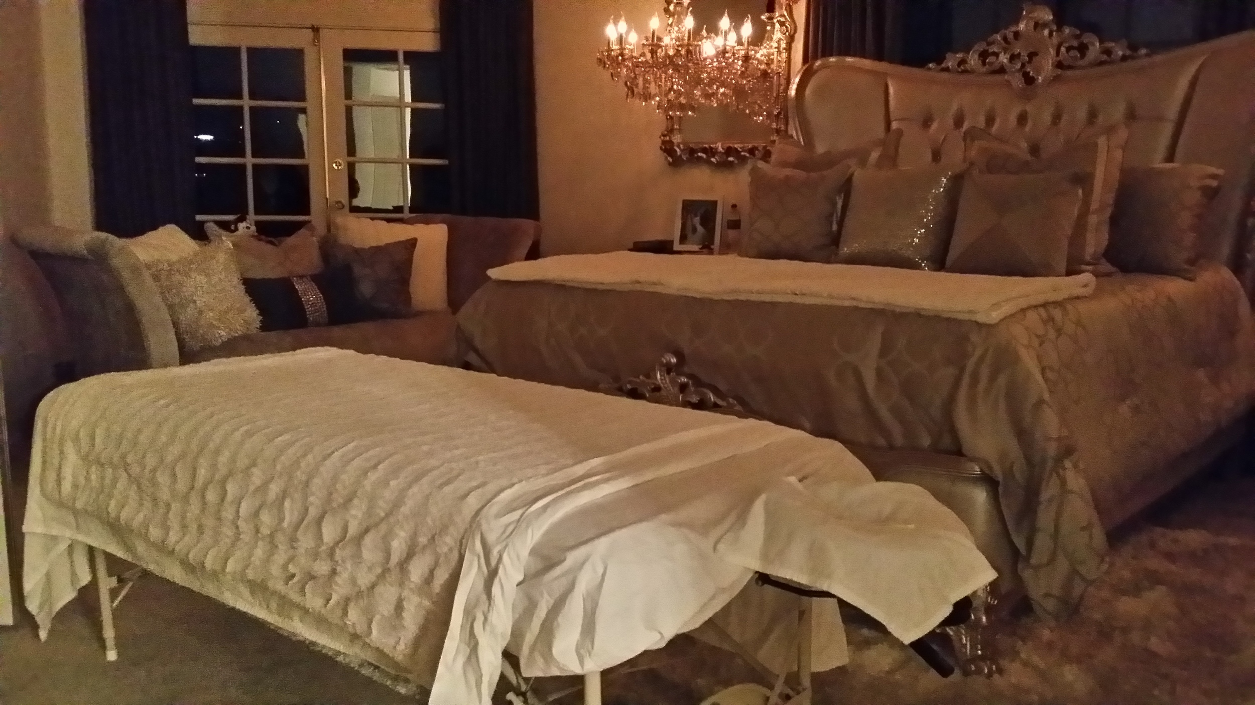 Ready to begin some serious relaxation. Massage set-up at home of a regular client in Nichols Canyon - so beautiful it almost looks staged!