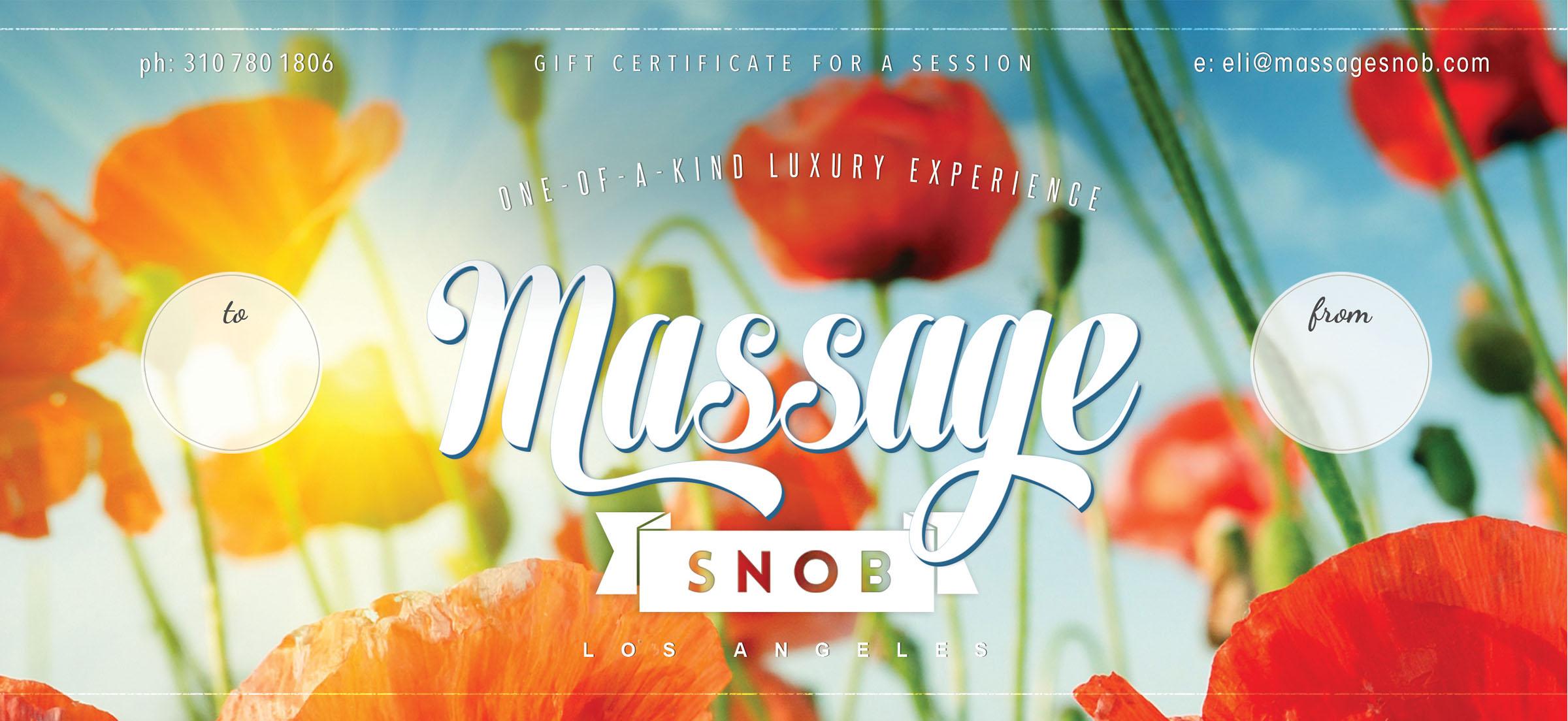 Massage Snob Gift Certificate Poppies