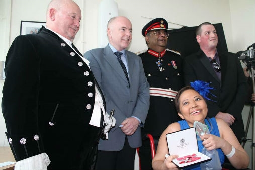 Doreen Mooney receives the Member of the British Empire. Photo courtesy of ABS-CBN.