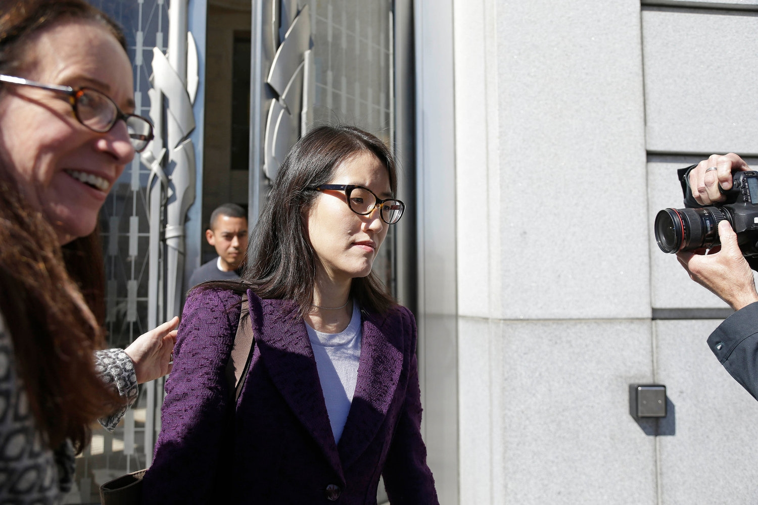 Ellen Pao leaving court with her lawyer, Therese Lawless. Photo credit: Eric Risberg/Associated Press.