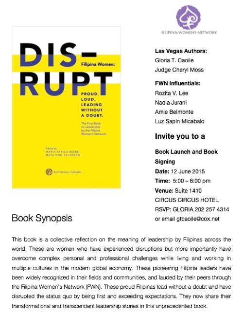 Las Vegas DISRUPT book launch flyer
