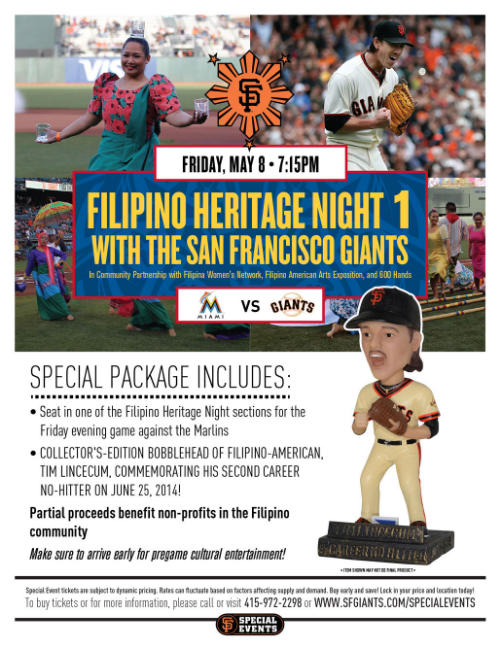 Flyer for Filipino Heritage Night 1 with the San Francisco Giants