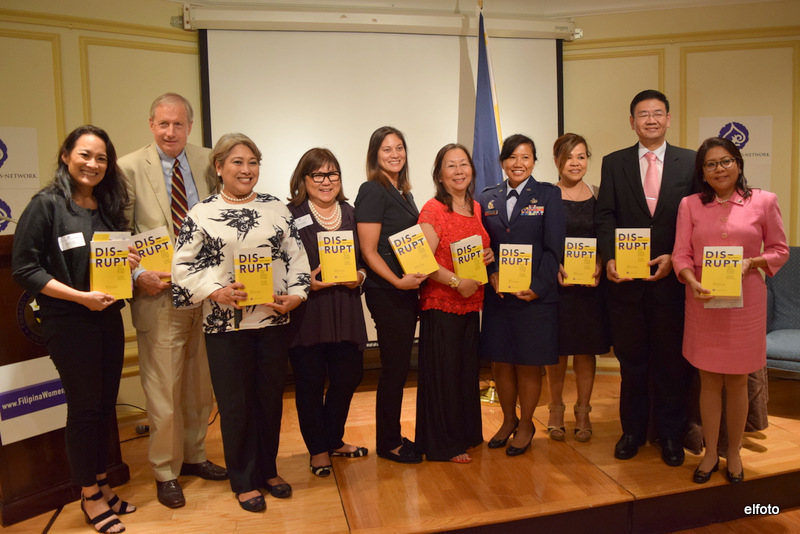 From left: Edcelyn Pujol (Frontier Wealth Strategies), Hand Hendrikson (US Philippine Society), Nini Alvero (Philippine Trade and Investment Center), Marily Mondejar (Filipina Women's Network), Susie Quesada (Ramar Foods International), Maria Beebe (Global Networks), Col. Shirley Raguindin (Air National Guard), Cris Comerford (The White House), Patrick A. Chuasoto (Philippine Embassy), Dr. Bambi Lorica (FWN Board Member)  Photo Credit: Eric Lachica