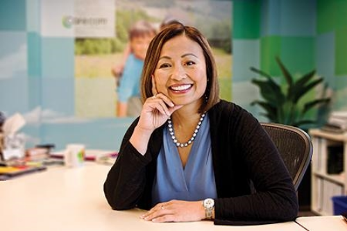 Sheila Lirio Marcelo, founder and CEO of Care.com, says she loves problem solving and thinking outside of the box. Photo credit:  Business Journal