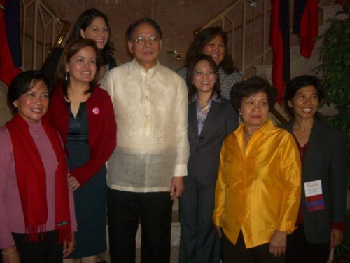 Photo taken at the Filipina Women's Network's Filipina Leadership Summit in 2007 at the Philippine Embassy in Washington DC. (L to R) Trustee for Berryessa Union School District Thelma Boac, ABS-CBN News Senior VP Ging Reyes, Laura Izon Powell Esq., Ambassador Gaa, Filipina Women's Network CEO Marily Mondejar, Dr. Bambi Lorica, Polly Cortez, Colonel Shirley Raguindin