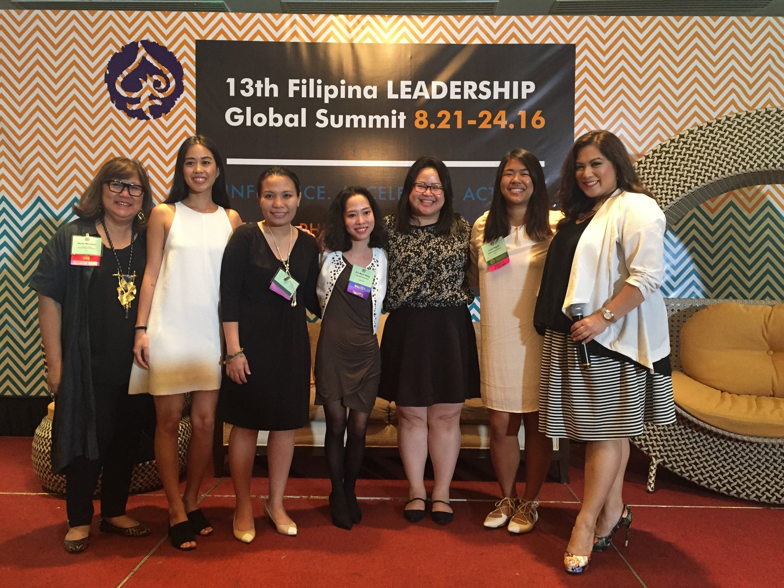 #FWNSummit2016 Smart. Young. Unintimidated. Next Generation Leaders. Yes. We. Are. Panel participants pictured with FWN CEO & Founder Marily Mondejar, FWN Fellow Raissa Alvero, Anne Quintos (Global FWN100™ '16), Eva Marie Wang (Global FWN100™ '16), Mary Lou Cunanan (Global FWN100™ '16), Leira Mae Digma, the Face of Global Pinay Power Francine Maigue (Global FWN100™ '15)