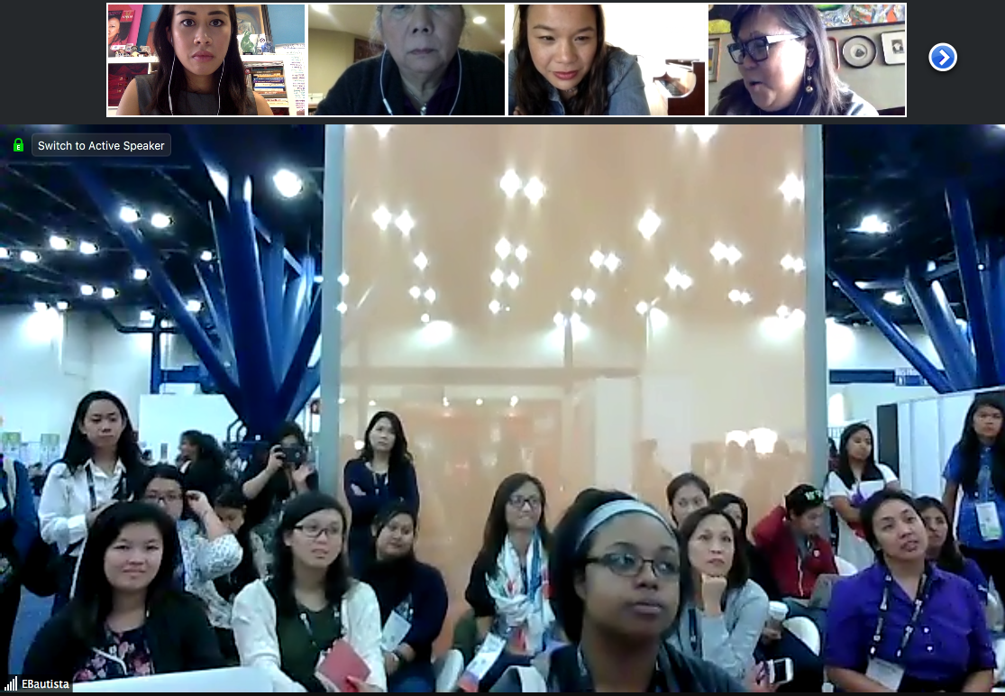 The #FilipinasinComputing and #FilipinaDISRUPTER crowd at Grace Hopper Celebration of Women in Computing in Houston during the digital author reading of DISRUPT 2.0: Filipina Women: Daring to Lead broadcasted live via Zoom