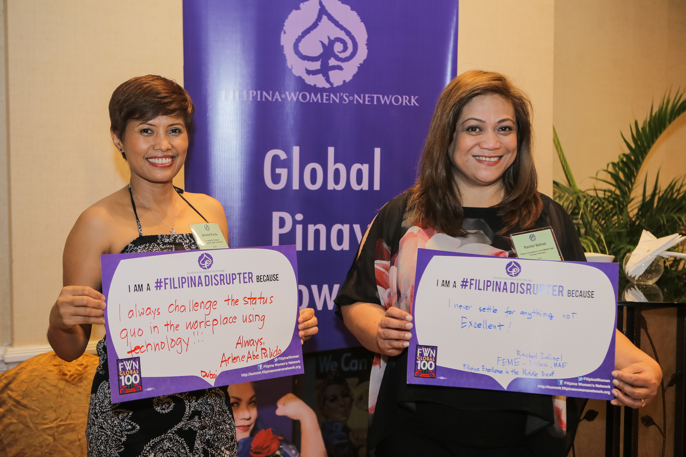 United Arab Emirates Global FWN100™ '16 Awardees Arlene Abe Pulido and Rachel Salinel share their #FilipinaDISRUPTER messages at the #FWNSummit2016 in Cebu.