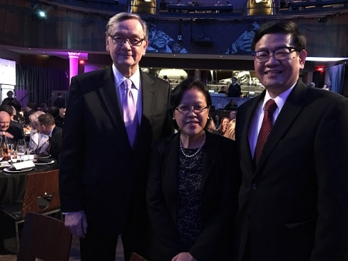 Philippine Embassy's Chargé d'Affaires, Minister Patrick Chuasoto with Dr. Cristina Liamzon, one of the recipients of this year's Global Fairness Award by the Global Fairness Initiative.