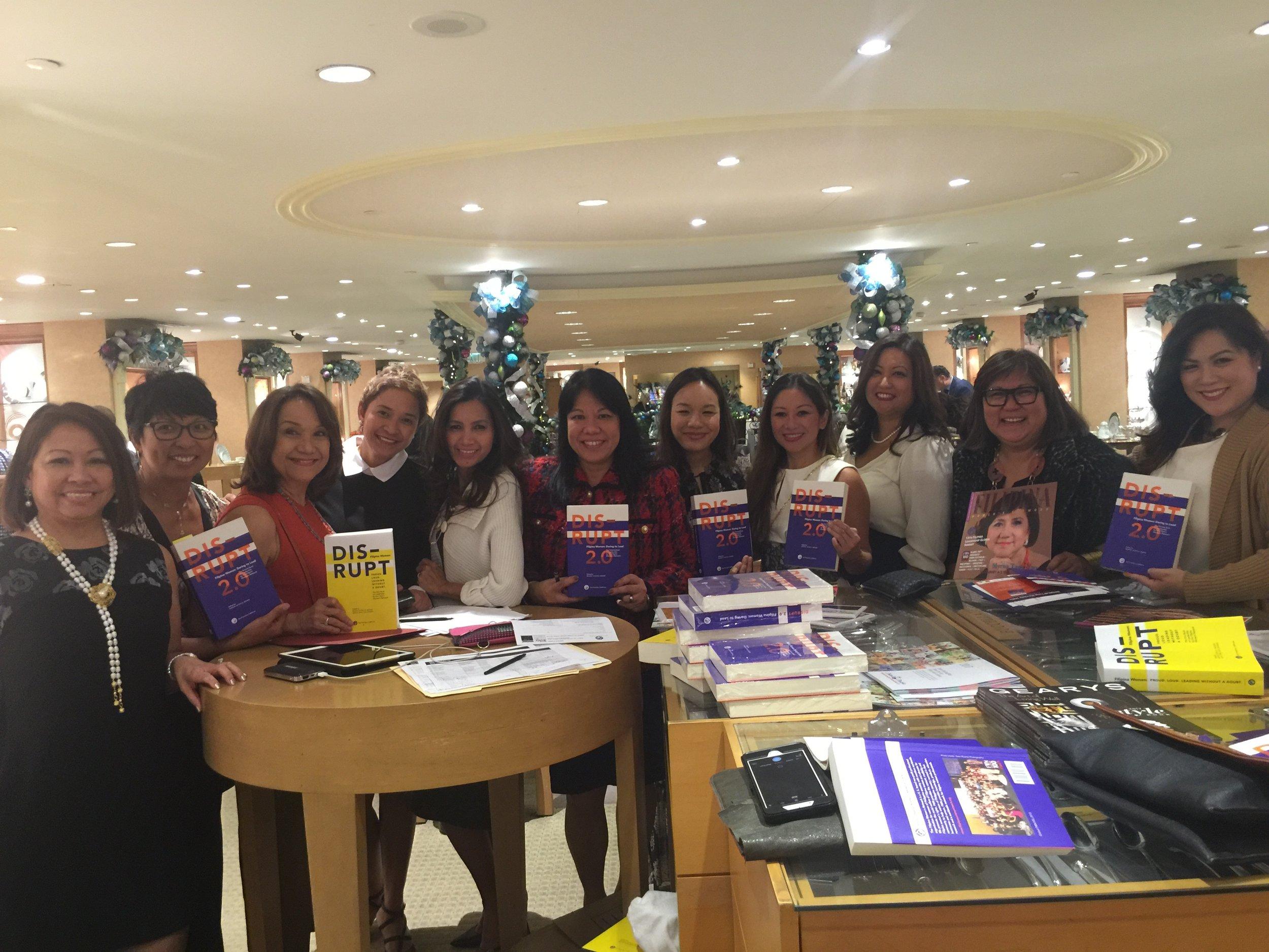 FWN Members and #FilipinaDISRUPTERS take over Geary's Beverly Hills. Pictured (L-R):Sonia Delen (U.S. FWN100™ '07), Vina Lustado (Global FWN100™ '15),Rocio Nuyda (U.S. FWN100™ '12, Global FWN100™ '16), Charina Vergara (Global FWN100™ '16), Rosario Cajucom-Bradbury (Global FWN100™ '16), Benel Se-Liban (U.S. FWN100™ '11), Melissa Orquiza (Global FWN100™ '15), Jacqueline D. Yu (U.S. FWN100™ '12), Melissa Ramoso (Global FWN100™ '14), Marily Mondejar (Founder & CEO, Filipina Women's Network), Francine Maigue (Global FWN100™ '15).