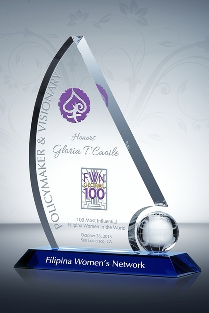 Global FWN100™ crystal award trophy -