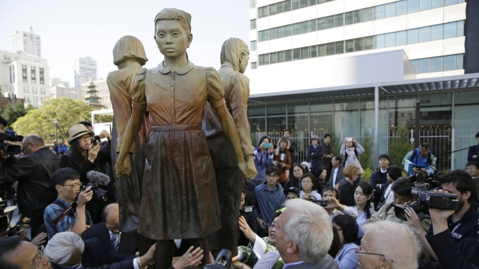 """The Victims of the Japanese military sexual slavery and the supporters around the globe, including the citizens of Osaka, Japan who have petitioned the SF Mayor Ed Lee to sign the Resolution congratulate CWJC, the organization that led the installation of the """"Comfort Women"""" Memorial in St. Mary's Square in San Francisco"""