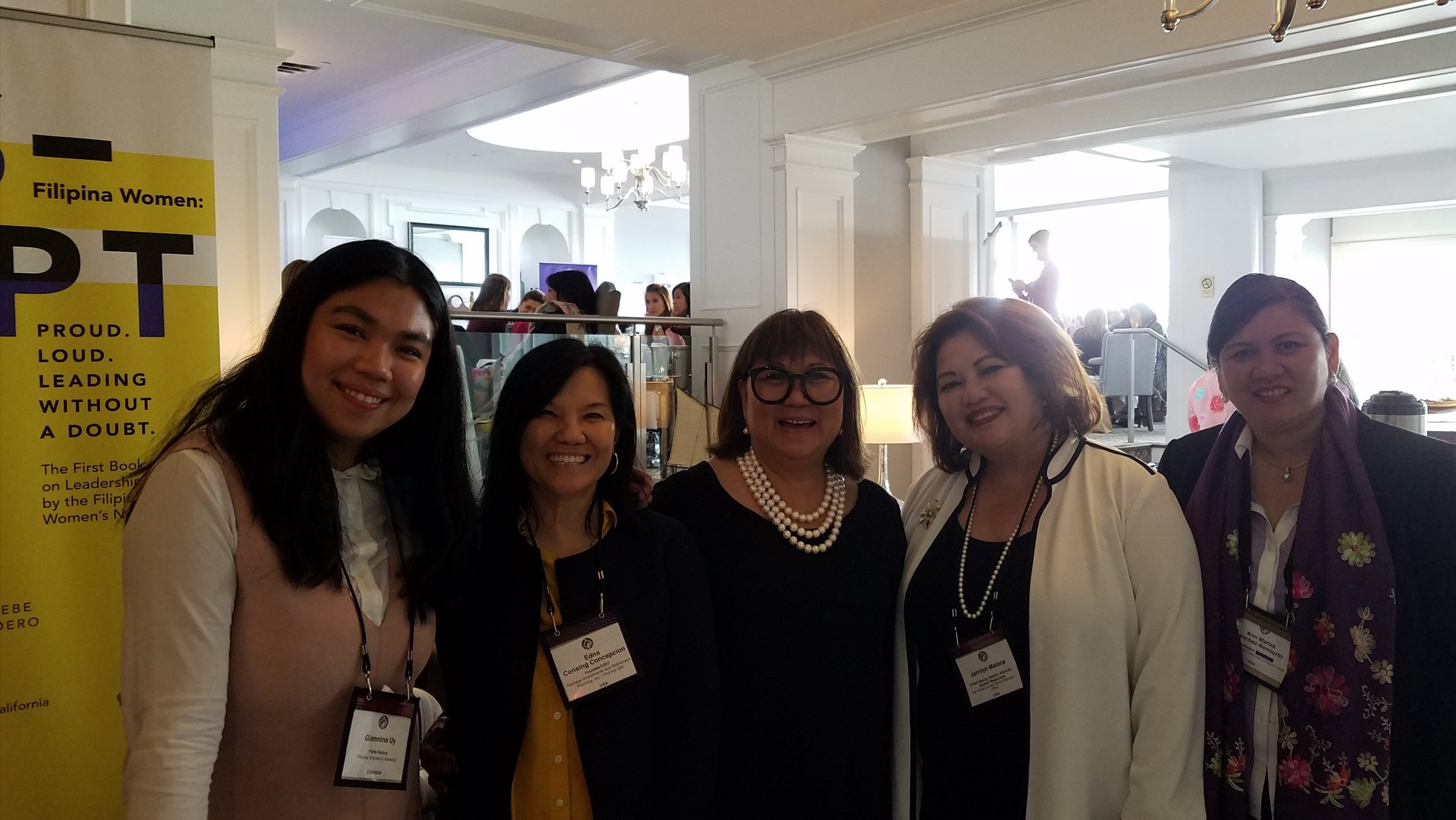 (L-R): FWN Fellow Giannina Uy, Edna Consing Concepcion (Global FWN100™ '17), FWN Founder and CEO and 2017 TOP HAT Awardee Marily Mondejar, Jerrilyn Malana (Global FWN100™ '17), and Ann Mariza Sanchez Bensurto (Global FWN100™ '17) at the FWN Summit 2017 in Toronto, Canada