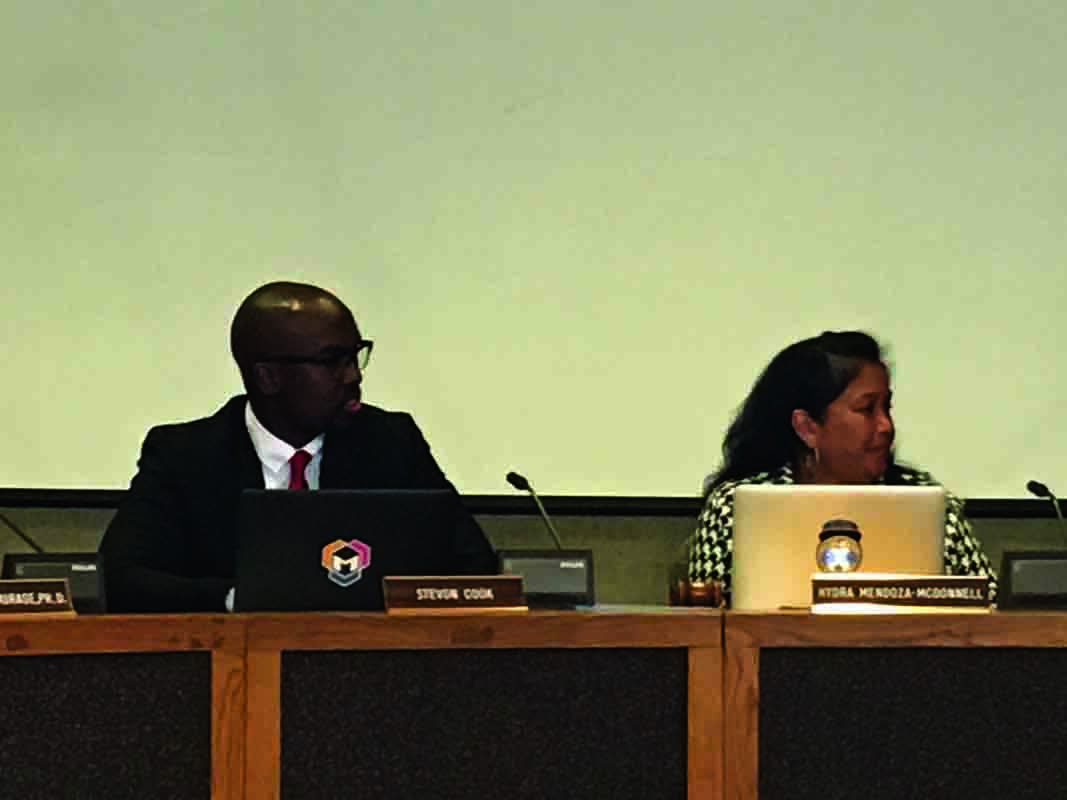 Stevon Cook, left, was named the vice president of the San Francisco Board of Education Tuesday after Hyrda Mendoza-McDowell, right, was unanimously elected president for the 2018-2019 school year.