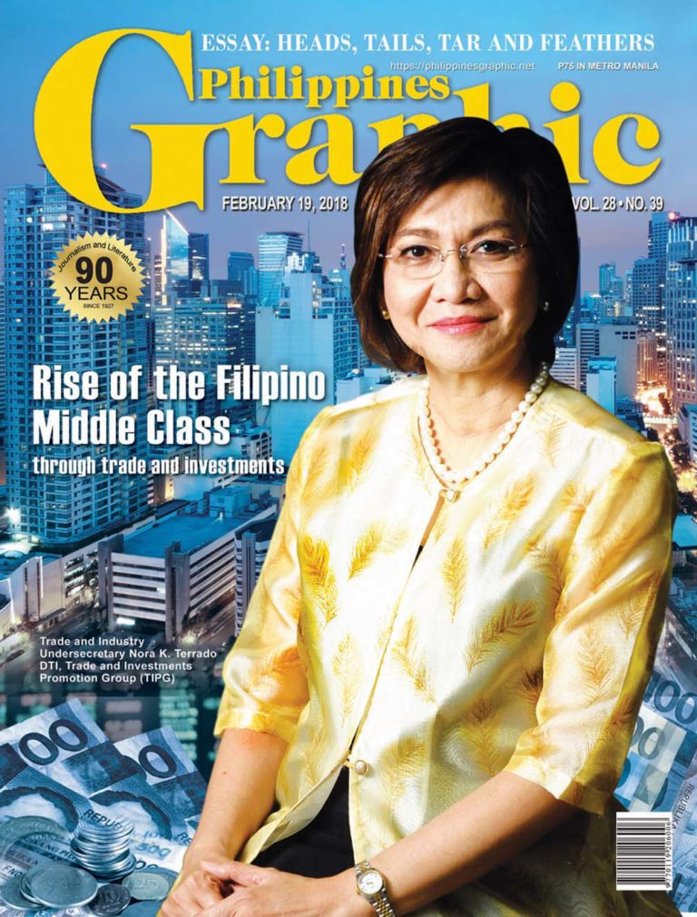 Department of Trade and Industry Undersecretary Nora K. Terrado (Global FWN100™ '14, Global FWN100™ '16) on the cover of Philippines Graphic (February 2018)