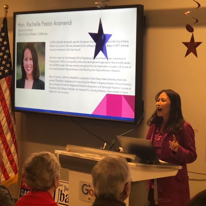 Sierra Madre City Council Member Rachelle Pastor Arizmendi gives a rousing speech at the Fil-Am Victory Celebration on January 31, 2019 in San Francisco. (Photo: Filipina Women's Network)