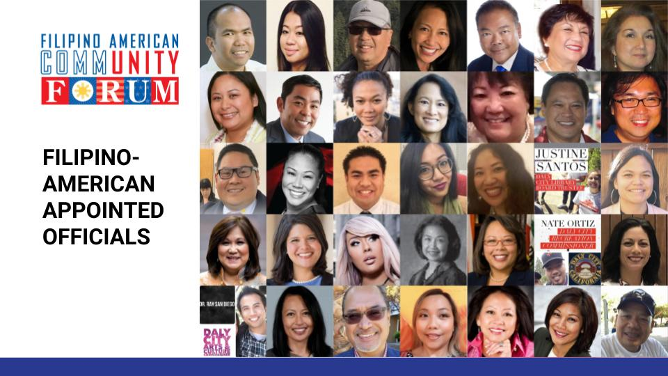 Filipino American commissioners and appointed officials recognized at the FilAm Victory Celebration on January 31, 2019 in San Francisco. (Photo Collage by Al Perez)