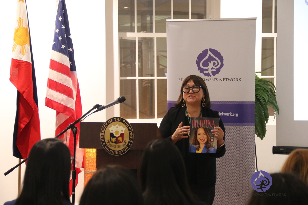 "FWN CEO and Founder Marily Mondejar talks about the Filipina Women's Network during the book launch of ""Disrupt 3.0 Filipina Women: Rising"" at the Philippine Embassy on 28 March 2019"