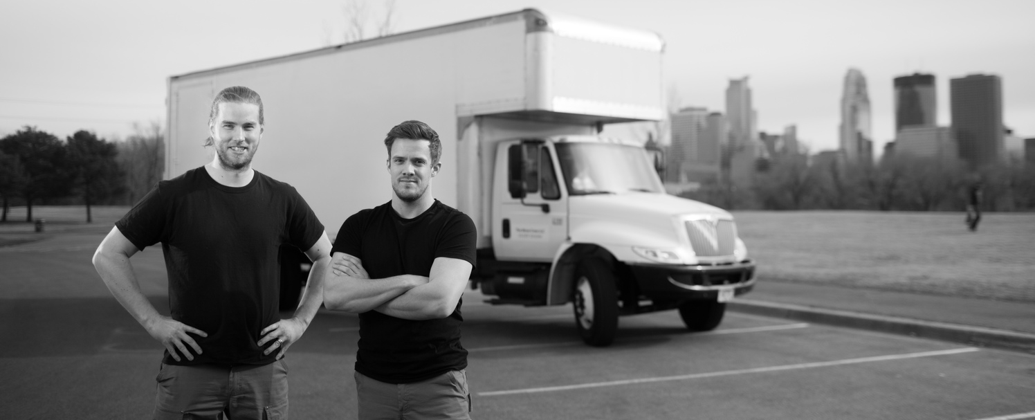 The owners of The Move Crew, Riku and Gunnar, in an original promotional picture with the very first Move Crew truck, circa March 2015.