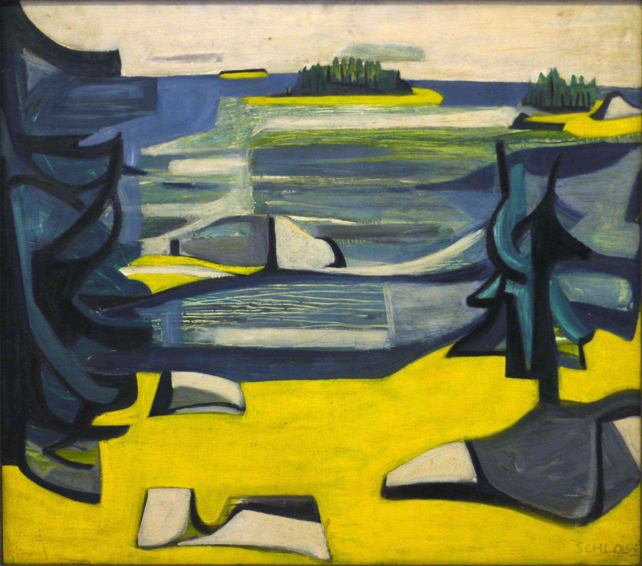 """Edith Schloss, """"Great Spruce Head,"""" c.1949, Oil on panel"""