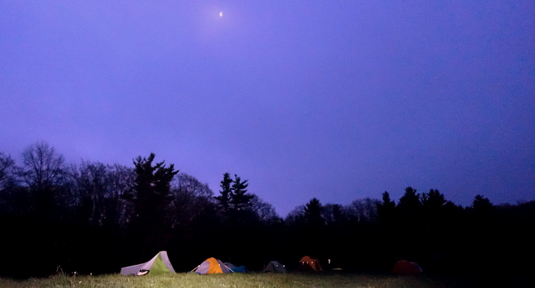 The Moon Is Our Nightlight : Midway Campsite at  Mayfair Farm .