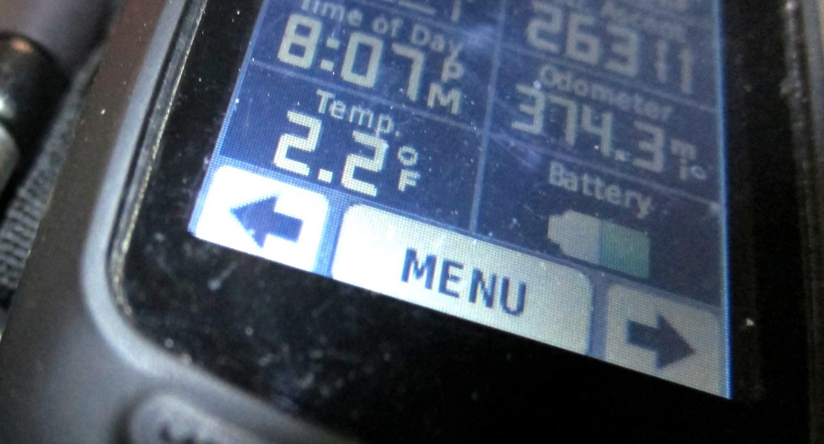 Garmin at 2.2 degrees fahrenheit - photo - Rob Vandermark.JPG