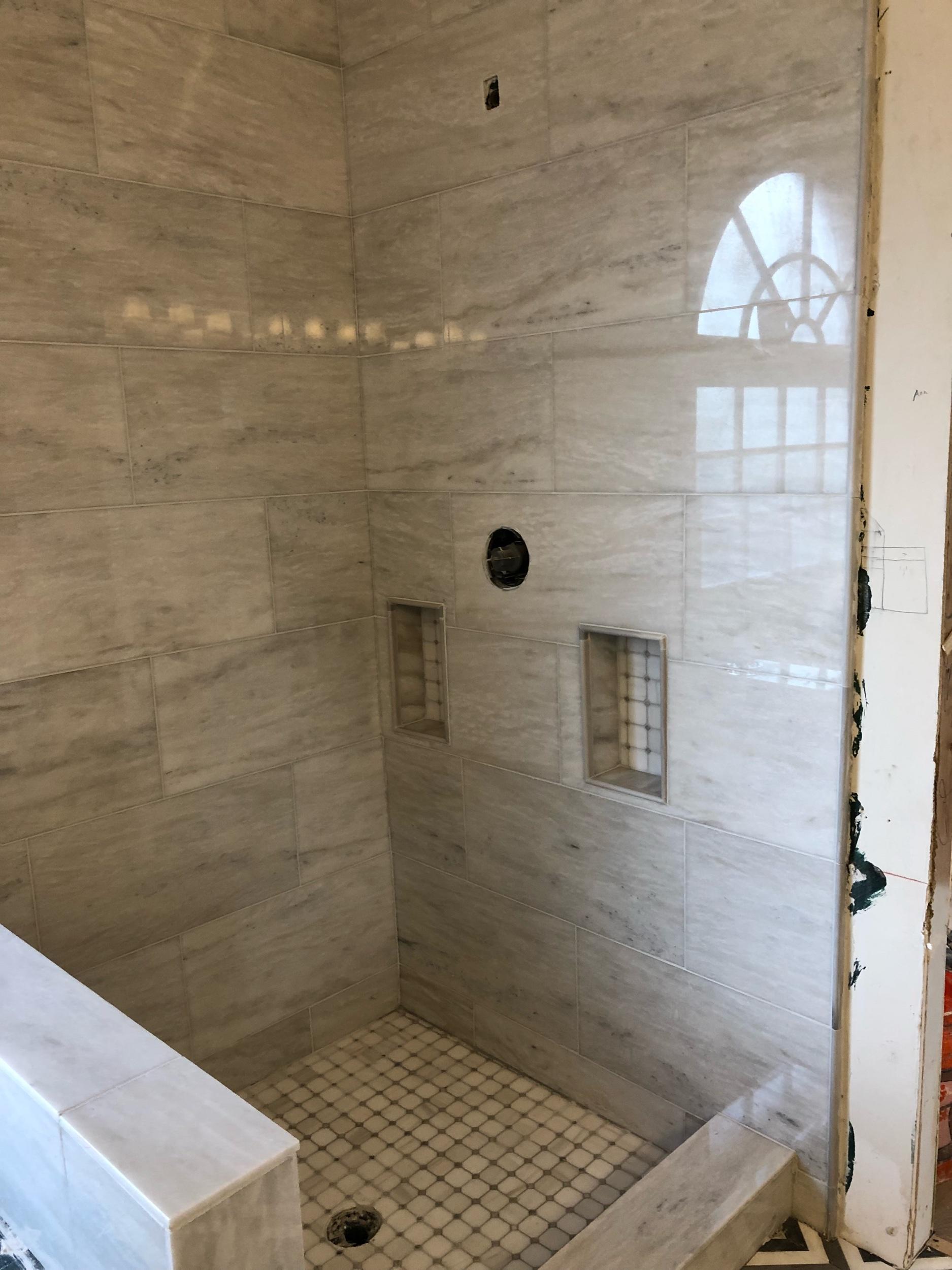 Professional Tile Installation - Marble custom Installer, bath, showers, walls, floors, fireplace.