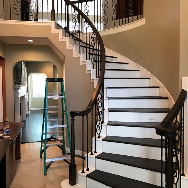 B 4 and after. Restained hand rails, installed iron baulisters, installed new solid trees and white risers then refinished steps. #HandRailsRe-Stain #SolidStepsInstalled #StepsAndRisers #IronBalusters #Refinishing