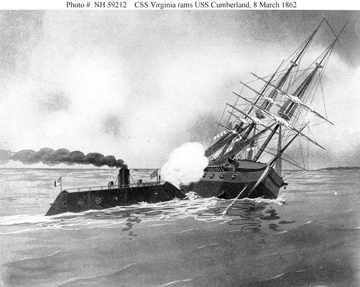 The CSS Virginia rams the USS Cumberland