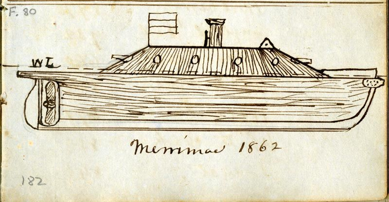 Early sketch of the conversion of the Merrimack 's hull into an ironclad.